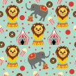 Seamless Circus Pattern with Icons — Stockvectorbeeld