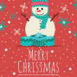Merry Christmas Greeting Card with Snowman and SnowFlakes on Red Background  — Stock Vector