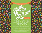 Baby Shower Invitation with Baby Patterns in the Background — Stock Vector