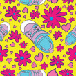 Seamless Sneaker Pattern — Stockvectorbeeld