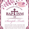 Baptism Card Invitation Bird and Pattern — Stock Vector