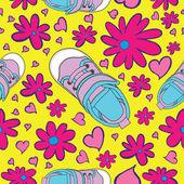 Seamless Sneaker Pattern — Stock Vector