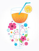 Cocktail Glass Illustration on White Background — Stock Vector