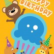 Happy birthday card design with cupcakes and animals in vector — Stock Vector