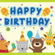 Happy birthday card design with cute animals in vector — Stock Vector
