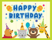 Happy birthday card design with cute animals in vector — Vetorial Stock