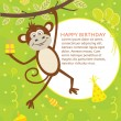 Happy Birthday Card with Monkey — Imagen vectorial