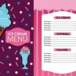 Ice Cream Menu in Vector — Imagen vectorial