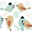 Love Birds and Birdcages Clipart in Vector — Stok Vektör