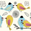 Love Birds and Birdcages in Vector — Vector de stock