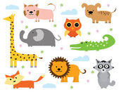Cute Animal Clipart Collection in Vector — Stock Vector