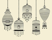 Set of Bird Cages Hanging in Vector and Black — Stock Vector