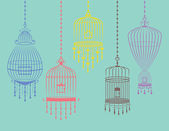 Colorful Birdcages Set in Vector — Stock Vector