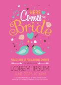 Bridal Shower Invitation Card Design on Pink Background — Stock Vector