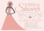 Bridal Shower Invitation Card with Girl in Wedding Dress — Stock Vector