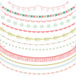 Garlands Set in Vector on White Background — Stock Vector