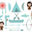 Native American Symbols and Clip arts on White Background — Stock Vector