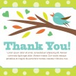 Bird on a Tree Thank You Postcard — Stock Vector #43109377