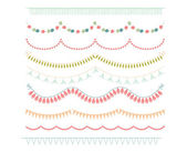Garlands and Bunting Flags Clipart on white Background — Stock Vector
