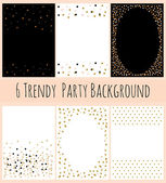 6 Party Background with Confetti in white and black — Stock Vector
