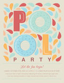 Pool or Beach Party Invitation Template Card — Stock Vector