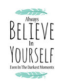 Believe in yourself poster in vector on white background — Stock Vector