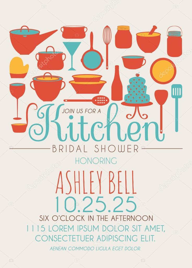 kitchen bridal shower invitation  stock vector © pixejoo, Bridal shower invitations