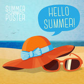 Summer hat and sun glasses on the beach sand — Stock Vector