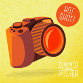 Photo camera for summer shots — 图库矢量图片