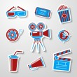 Paper sticker cinema (movie) icons set — Stock Vector #48605977