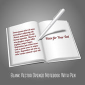 Opened book with pen  writing — Stock Vector