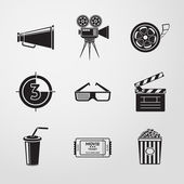 Cinema (movie) icons set — Stock Vector