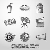 Cinema (movie) freehand icons set — Stock Vector