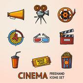 Cinema (movie) freehand icons set — Stock Vector