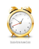 Golden alarm clock — Stock Vector