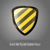 Black and yellow carbon   shield — Stock Vector