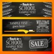 Set of school banners with place for your text and sale advertisement, and welcome back to school greeting. Vector — Stock Vector #50231737