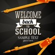 Welcome back to school greeting card with place for your text, and dividers on chalkboard background. Vector — Stock Vector #50231769