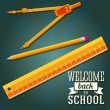 Welcome back to school greeting with ruler, pencil and compass. Vector — Stock Vector #50231787