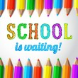School is waiting - hand drawn lettering with pencils. Vector. — Stock Vector #50231797