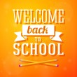 Welcome back to school greeting card with crossed pencils on bright positive background. Vector — Stock Vector #50231809
