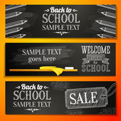 Set of school banners with place for your text and sale advertisement, and welcome back to school greeting. Vector — Stock Vector