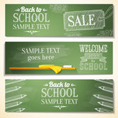 Set of school banners with sample text place for your message. vector — Stock Vector