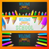 Set of school banners with place for your text and welcome back to school greeting. Vector — Stock Vector