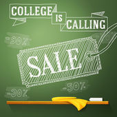 College is calling sale on the chalkboard with different percents. Vector — Stock Vector