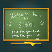 School desk with chalk, welcome back message and place for your text. Vector — Stock Vector