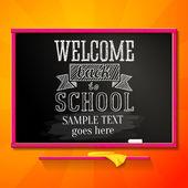 Brillante pizarra de la escuela con el saludo de bienvenida de nuevo a la escuela y el lugar para el texto. vector. — Vector de stock