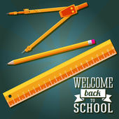 Welcome back to school greeting with ruler, pencil and compass. Vector — Stock Vector