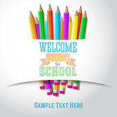 Willkommen Sie zurück in der Schule handgezeichnete Gruß mit Farbstiften unter der Papier-Multifunktionsleiste. Vektor — Stockvektor