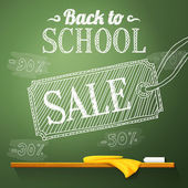 Back to school sale on the chalkboard with different sale percentss. Vector — Stock Vector